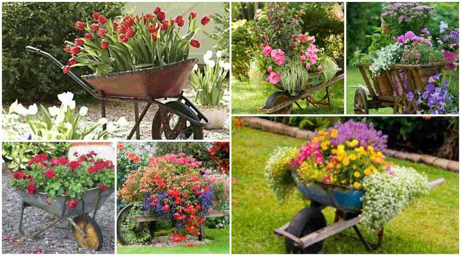 Flower Garden Ideas With Old Wheelbarrow diy fun world: old wheelbarrow as a planter - 15 great ideas