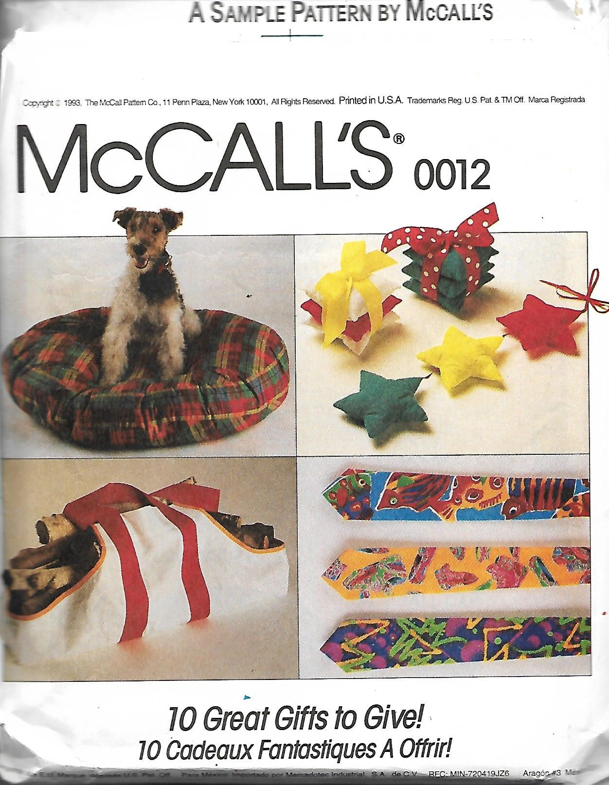 McCall's 0012 Sewing Pattern, Apron, Log Carrier, Dog Bed