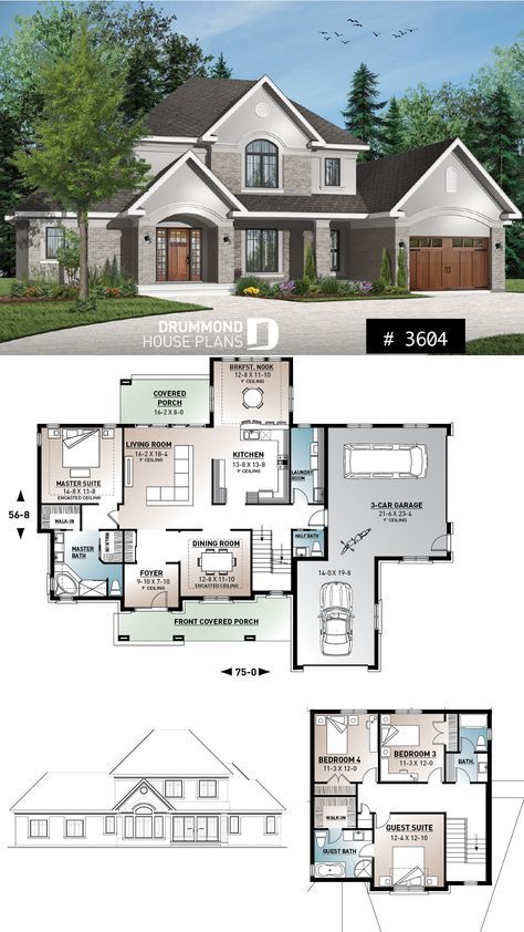 Discover the plan 3604 Montrose which will please you for its 4 bedrooms and for its American styles