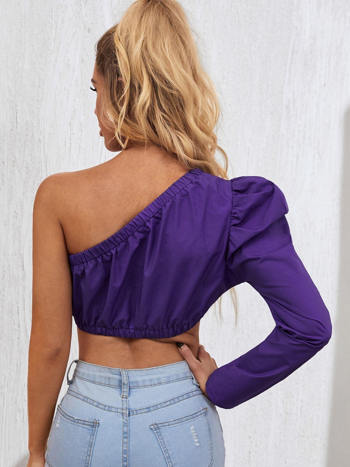 One Shoulder Ruched Sleeve Crop Top Sponsored Sponsored Ruched Shoulder Sleeve Crop Tops Unique Formal Dresses Tops