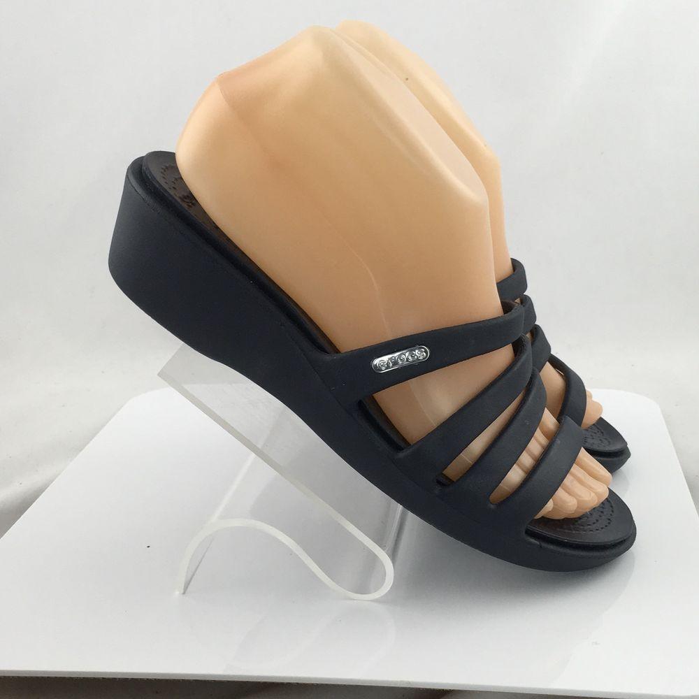 1b49b455c5e5 Crocs Rhonda Wedge Sandals Slides 14706 Womens size 7 Blue Strappy  Crocs   PlatformsWedges  Casual