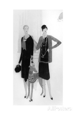 Dress Designs by Chanel, Illustration from 'Vogue' Magazine, 1 April, 1927 Giclée-Druck bei AllPosters.de