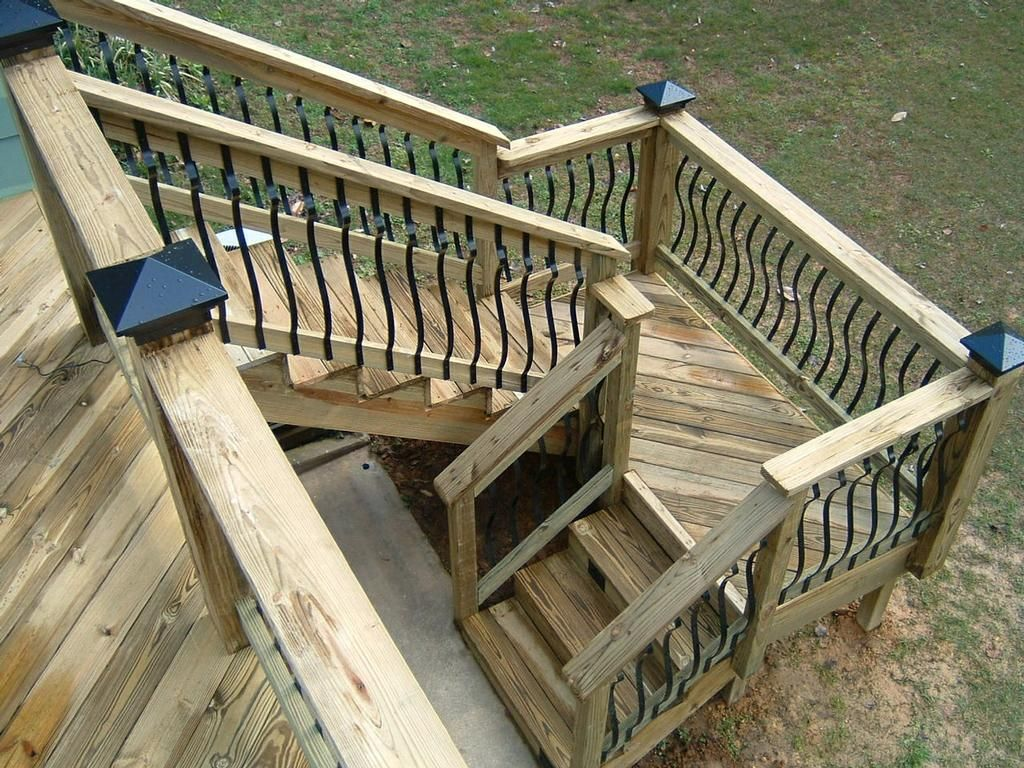 deck stairs with landing design  by Distinctive Designs 4 You Incorporated  decks  Deck stair