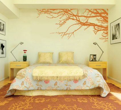 Amazing Orange Japanese Tree Garden for Modern Bedroom Wall Paint