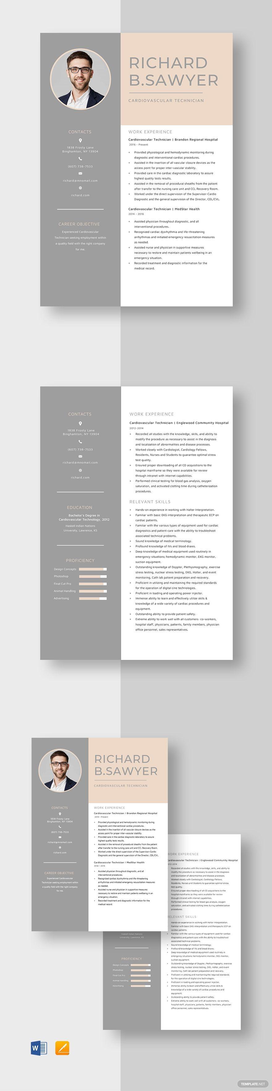 Cardiovascular Technician Resume Template Ad Sponsored Technician Cardiovascular Template R In 2020 Resume Template Nursing Resume Template Manager Resume