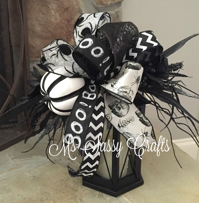Halloween Lantern Swag - Halloween Bow - Halloween Swag - Black and - black and white halloween decorations