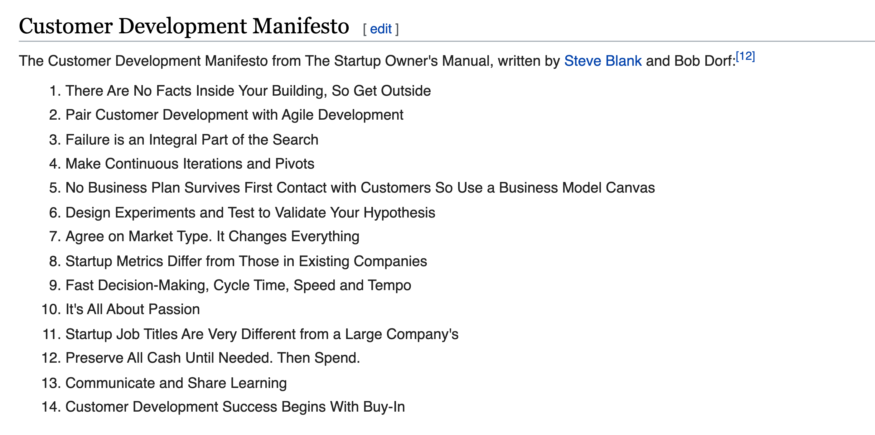 Customer Development Manifesto Customer Development Agile Development Development
