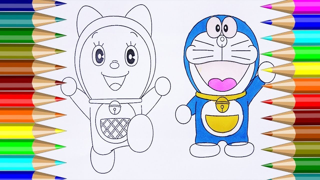 Kid Draw Doraemon and Dorami Coloring Pages Learn Drawing for