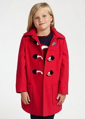 John Lewis Girl Hooded Duffle Coat Red | Style for Kids ...