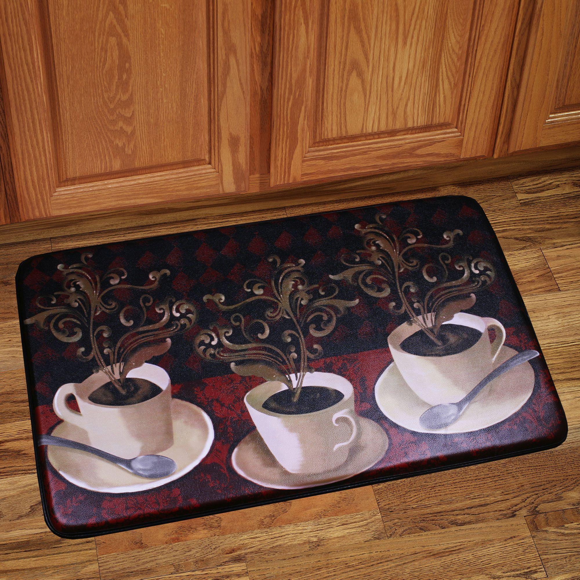 N Memory Foam Cafe Lotus Design Kitchen Floor Mat (Cafe Lotus), Multi