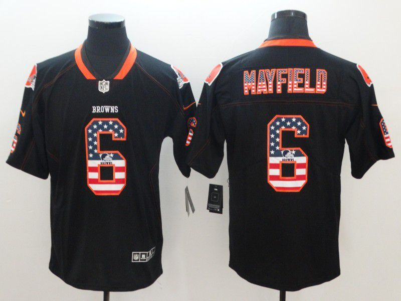 c7f5ecc02d83e ... sweden men cleveland browns 6 mayfield nike usa flag fashion black  color rush limited nfl jerseys ...