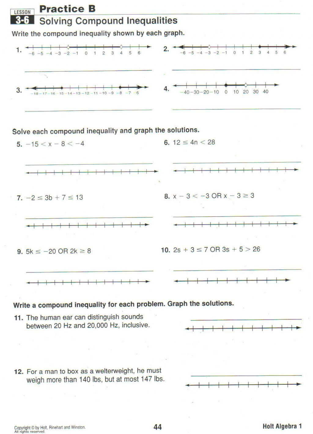 small resolution of Inequalites Worksheet Word Problems 7th Grade Writing   Printable Worksheets  and Activities for Teachers