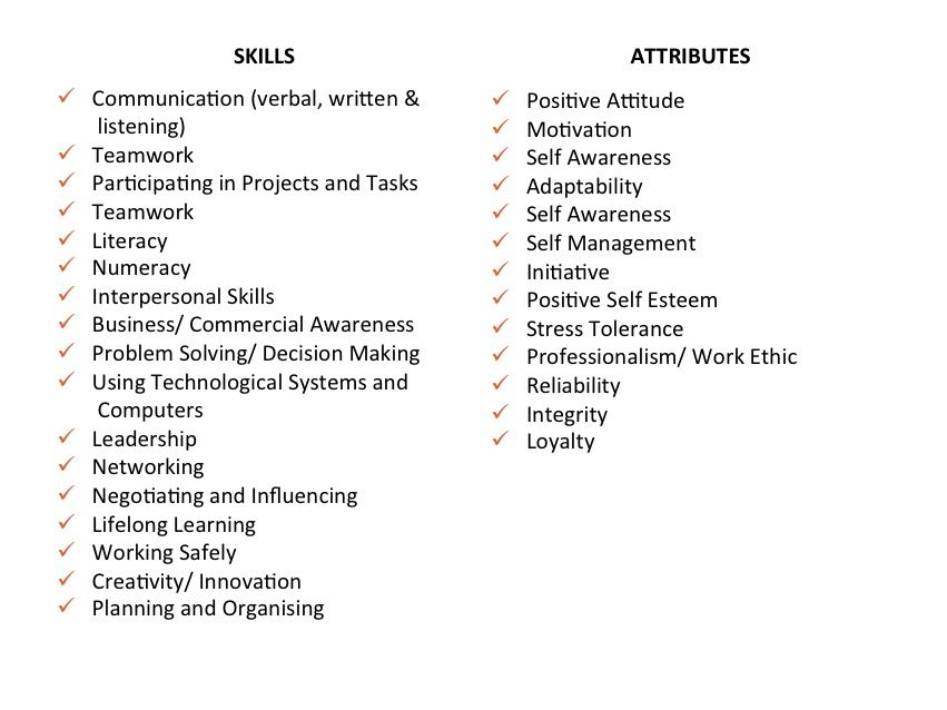The difference between skills and attributes employability - professional skills list resume