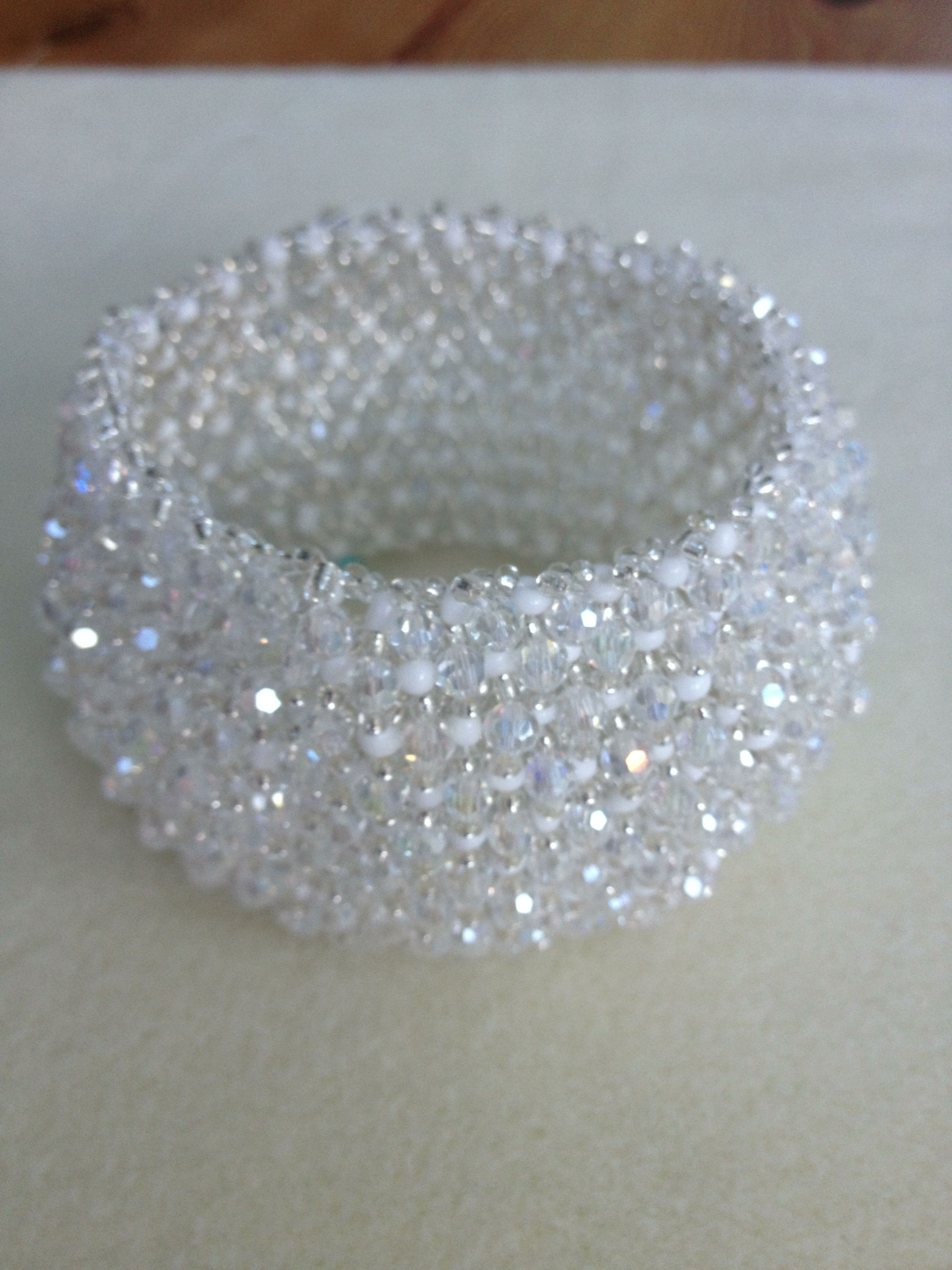 Beautiful beaded bracelet  Bicones AB  Silver seed beads  White seed beads