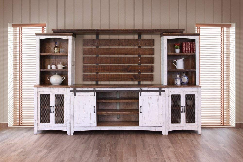 Will Fit a 70 Inch Television RR White Anton Sturdy Solid Wood Farmhouse Style Sliding Barn Door Anton Entertainment Center Wall Unit