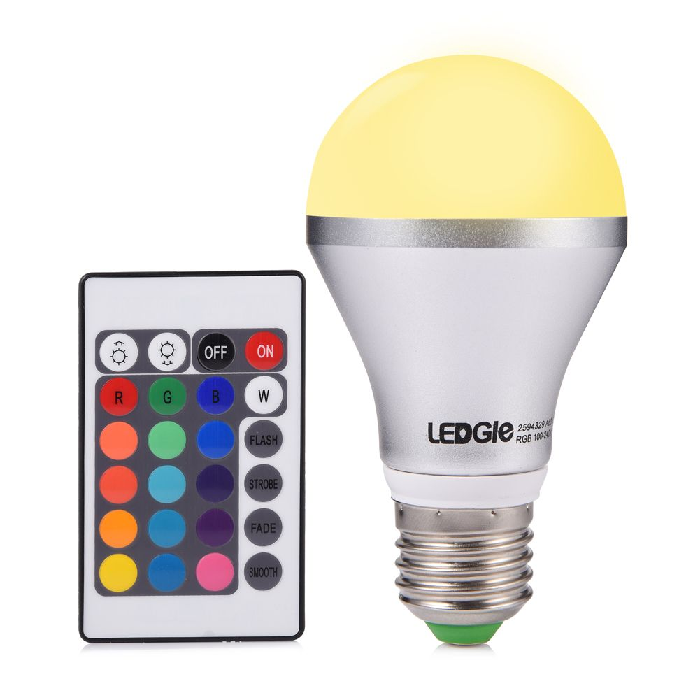 LED Light Bulb A19 Dimmable, Ledgle E26 Remote Control RGB LED Light ...