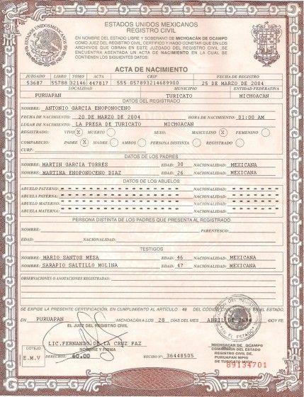 Mexican birth certificate psd template idf Pinterest Psd - birth certificate template