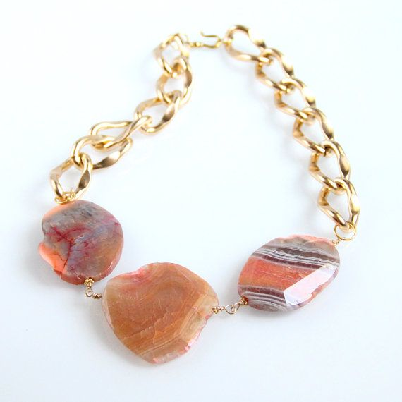 Amber Agate Chain Necklace  Gold Chunky by rubyskydesign on Etsy, $70.00