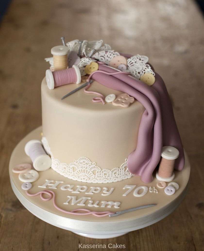 Pleasing Sewing Inspired Cake For 70Th Birthday By Sussex Based Bespoke Funny Birthday Cards Online Chimdamsfinfo