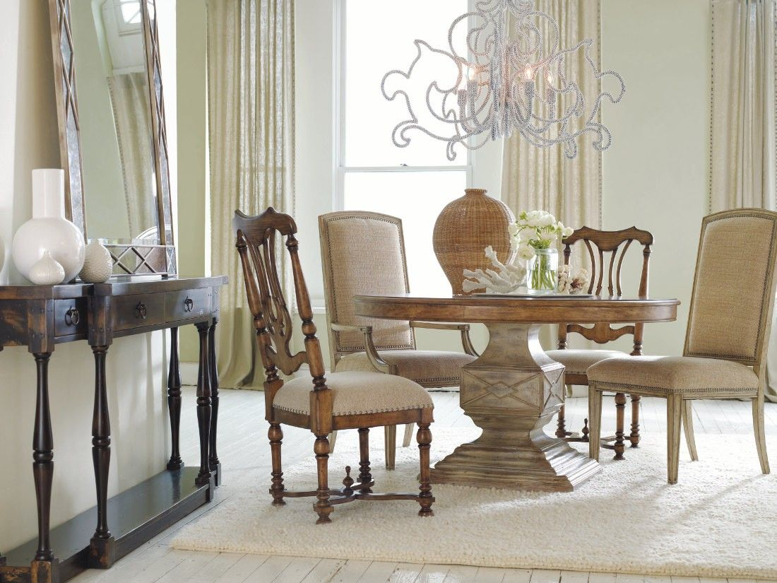 Hooker Furniture Sanctuary 54 in. Round Pedestal Dining Set in Dune ...
