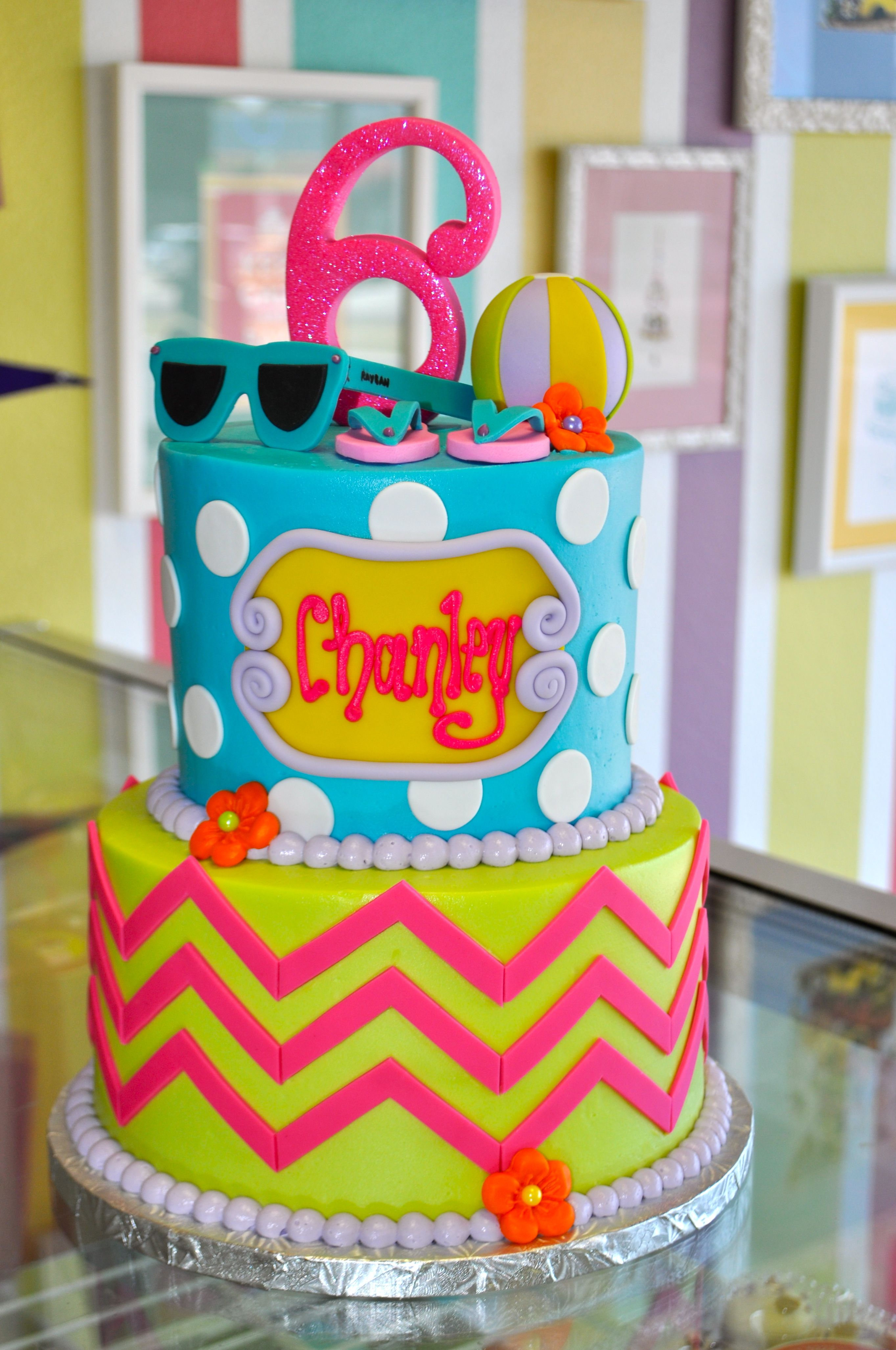 Fantastic Chevron Pool Party Beach Girly Glitter Birthday Cake Personalised Birthday Cards Akebfashionlily Jamesorg