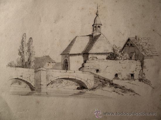 paisaje rural dibujo original a lapiz firmado  Comprar Dibujos