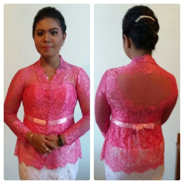 Photo of Traditional dress in Indonesia called Kebaya..Front and back of graduation kebay…