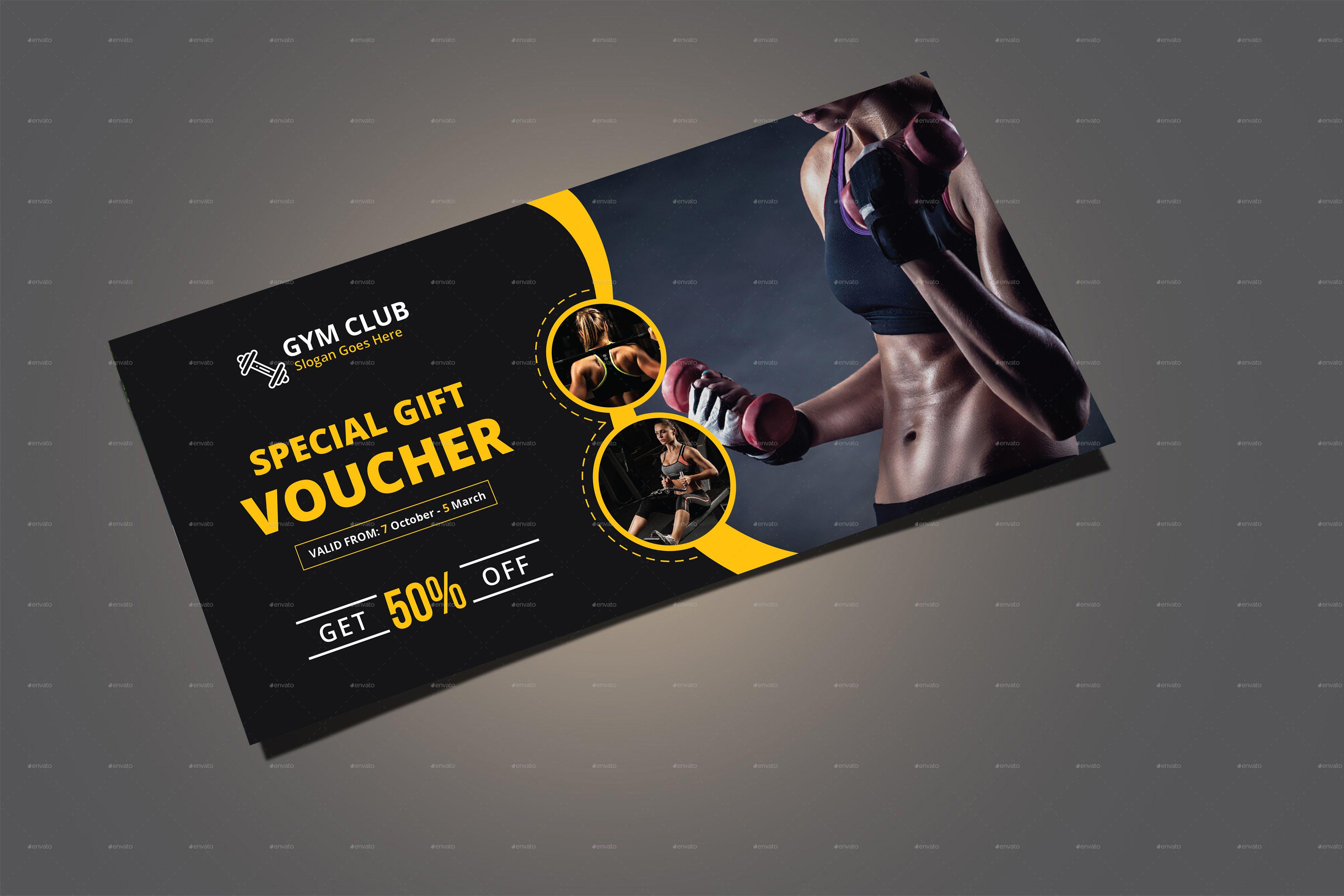Fitness Gym Gift Voucher Template Voucher Design Gift Certificate Template Gift Voucher Design