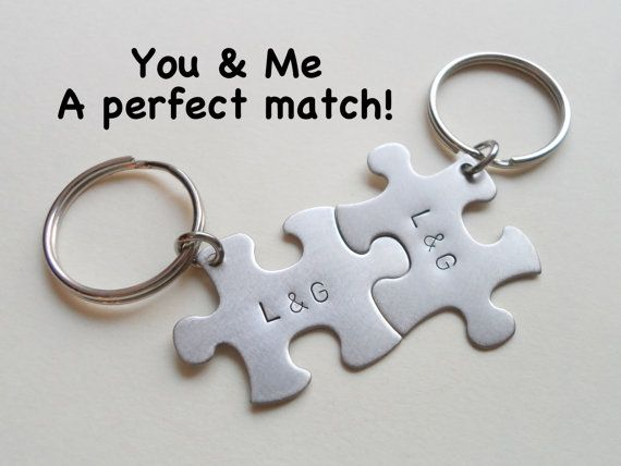 Puzzle Pieces Couples Keychain Set Matching Puzzles Key Chain Husband Wife Girlfriend Boyfriend Gift Initials Steel Anniversary Gift Steel Anniversary Gifts Keychain Set Couples Keychains