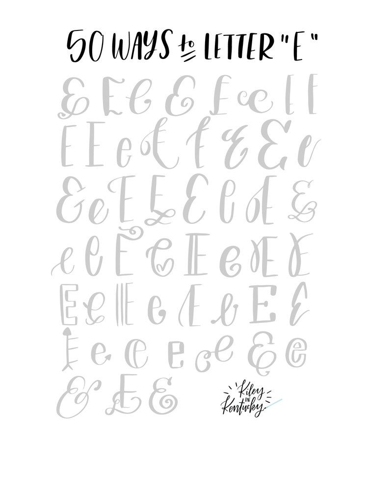 Ways to draw an quot e brush lettering practice free