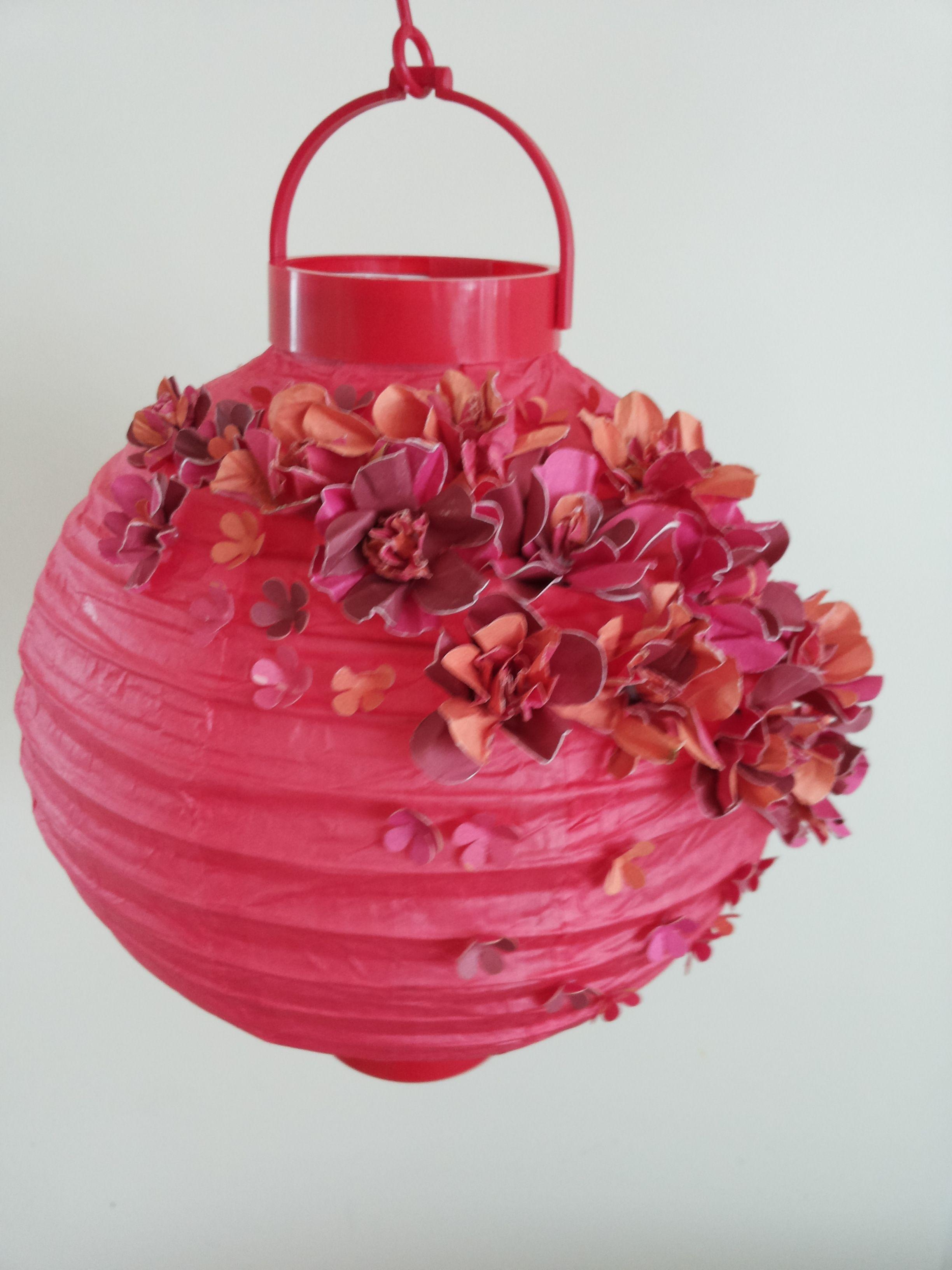 Teachers Gift Homemade Cardstock Flowers On A Paper Lantern