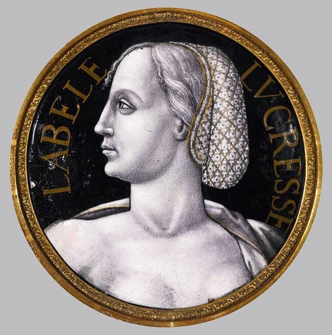PÉNICAUD, Jean II: Roundel,  Grisaille painted, enamelled copper, diameter 19 cm, Private collection