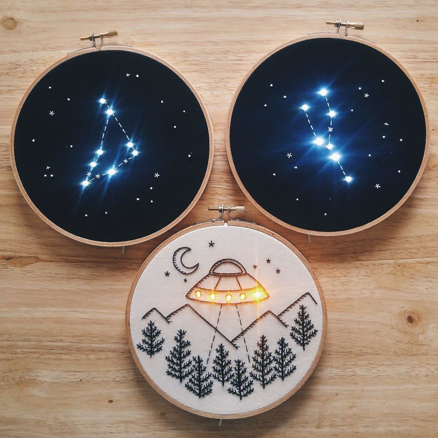 """Photo of I """"Light Up"""" My Embroidery Works Inspired By Night And Stars"""