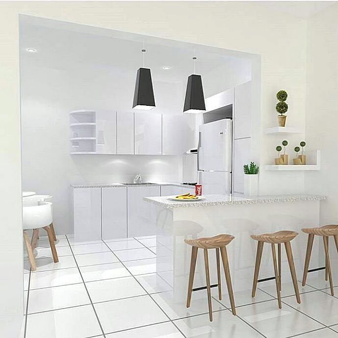 Gambar Contoh Kitchen Set Warna Putih Desain Dapur Minimalis Dekor