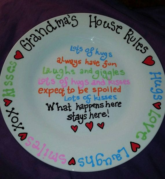 Grandmother Plate - Grandmas House Rules - Hand-painted Plate - Mimi - Nana - Gramma -Personalized Grandmother Plate - Personalized Gifts & Grandmother Plate - Grandmas House Rules - Hand-painted Plate - Mimi ...