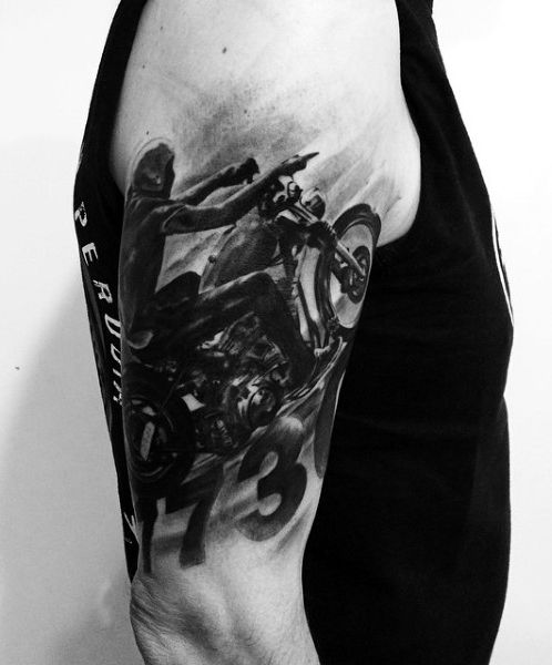 60 motorcycle tattoos for men tattoos for men for Motorcycle tattoo sleeve