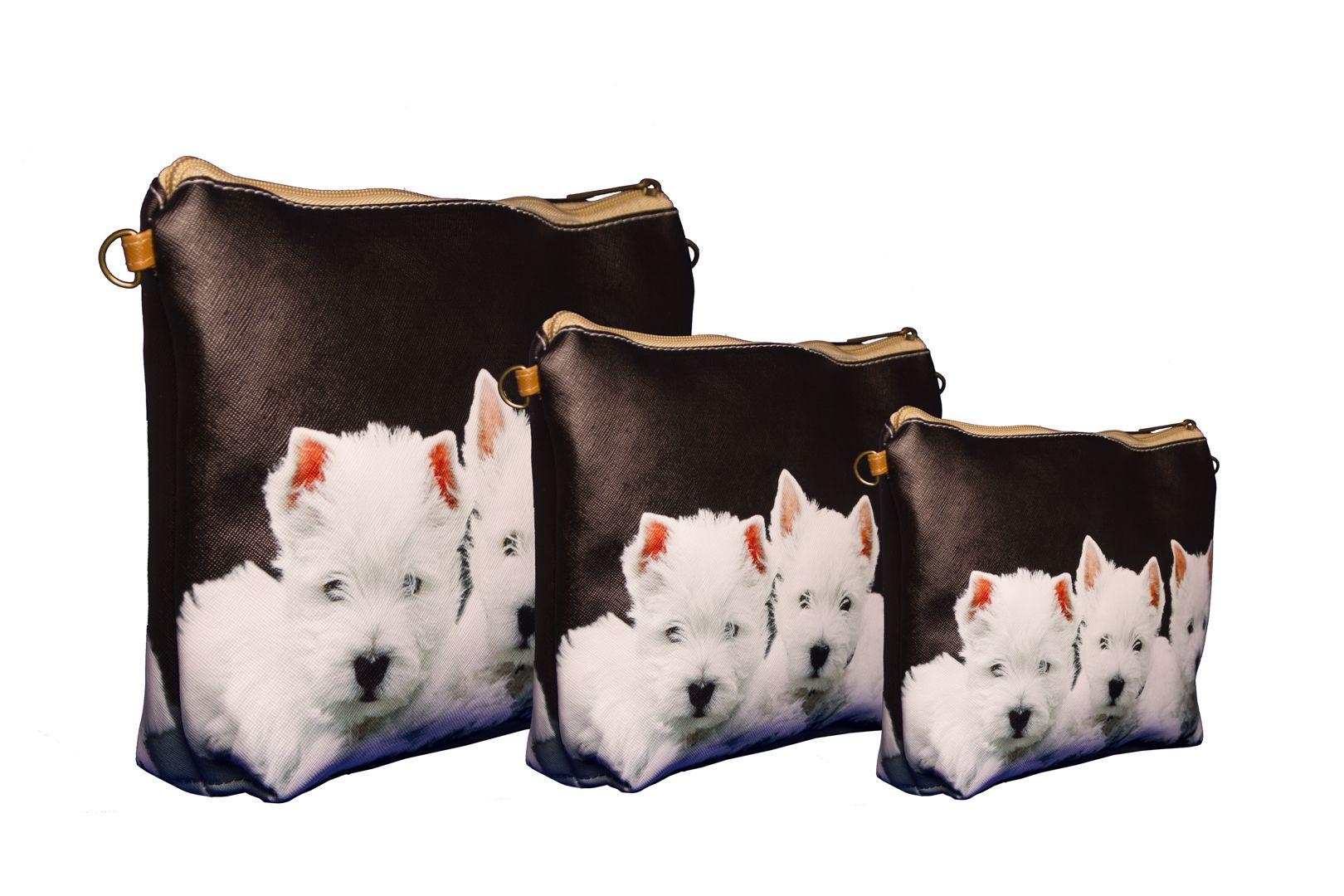 Conjunto de três bolsas com três filhotes de West