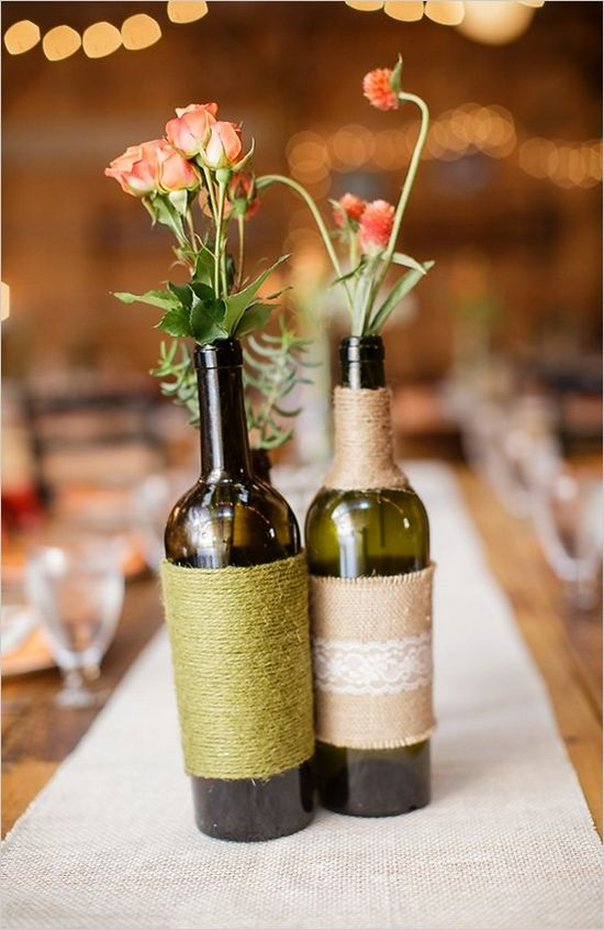 Charming rustic fall wedding wrapped wine bottles for Glass bottle centerpiece ideas