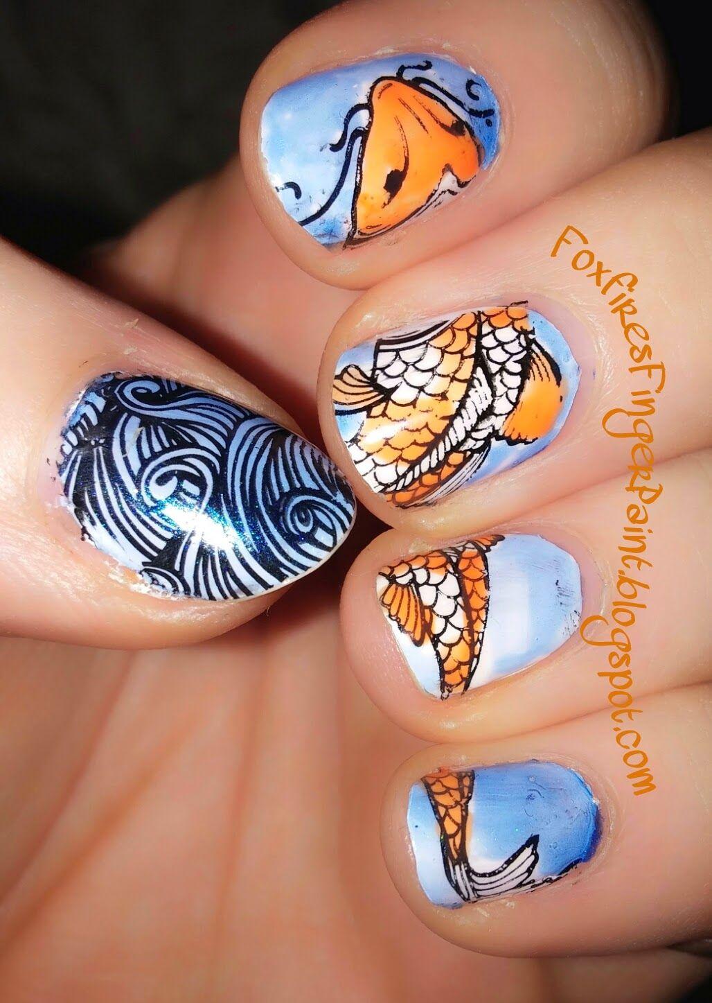 Foxfire\'s Finger Paint: Koi Fish. | Nail Art | Pinterest | Koi and Fish