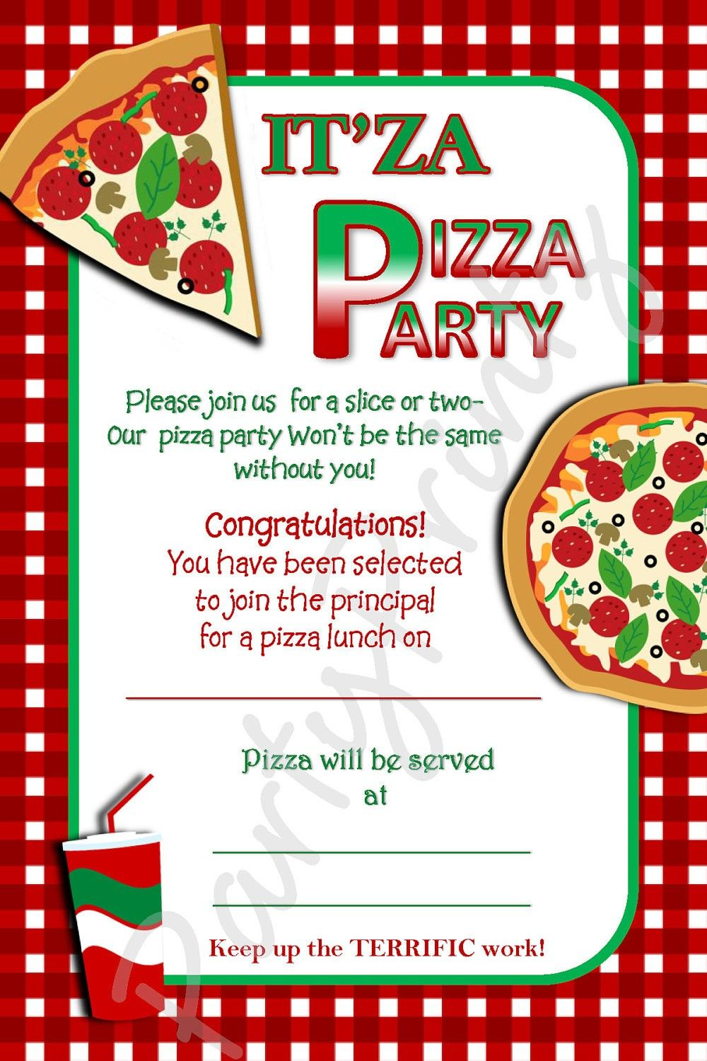 Awesome Red Squares Pattern With Top White Pizza Party Invitation Template  Invitation For Party Template