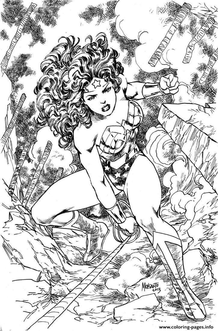 Print Superhero Wonder Woman Adult Coloring Pages