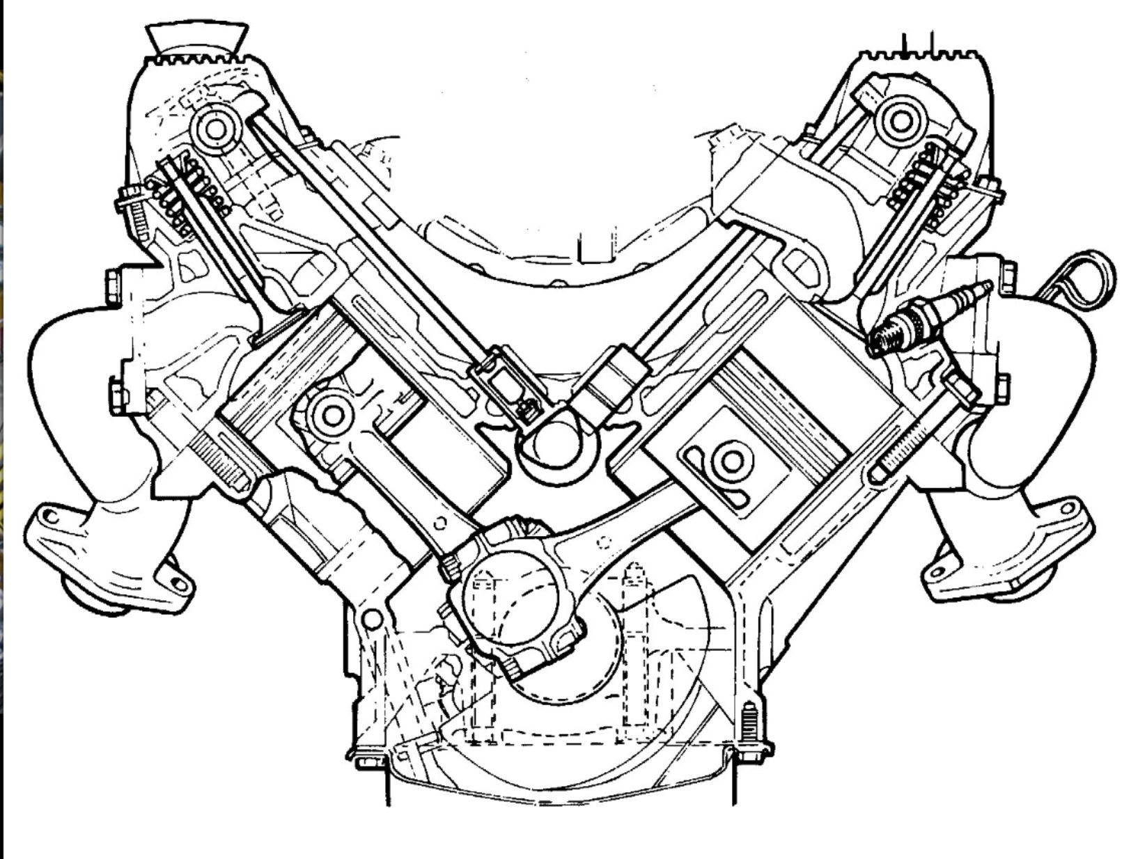 A sectional view of the ROVER V8 engine. A masterpiece of