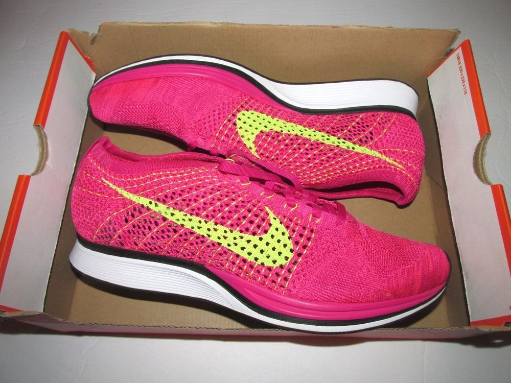 2c39cc529331 Nike Flyknit Racer Running Shoes Mens 12 Fireberry Volt Pink Flash  Nike   RunningShoes