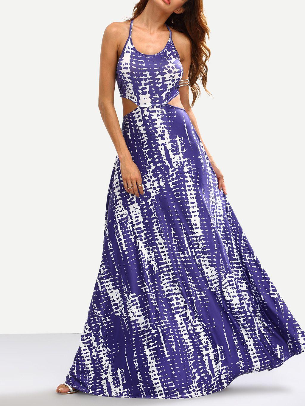 Cómpralo ya!. Blue Tie Dye Print Cutout Maxi Dress. Blue Beach ...
