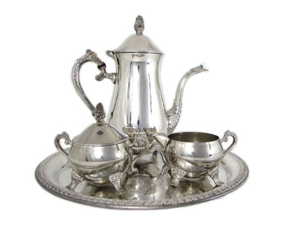 International Silver Co Silver Plated Coffee Service 4-Piece Tea Set Tea/Coffee Pot Creamer Sugar Embossed Round Gadroon Tray  sc 1 st  Pinterest & International Silver Co Silver Plated Coffee Service 4-Piece Tea ...