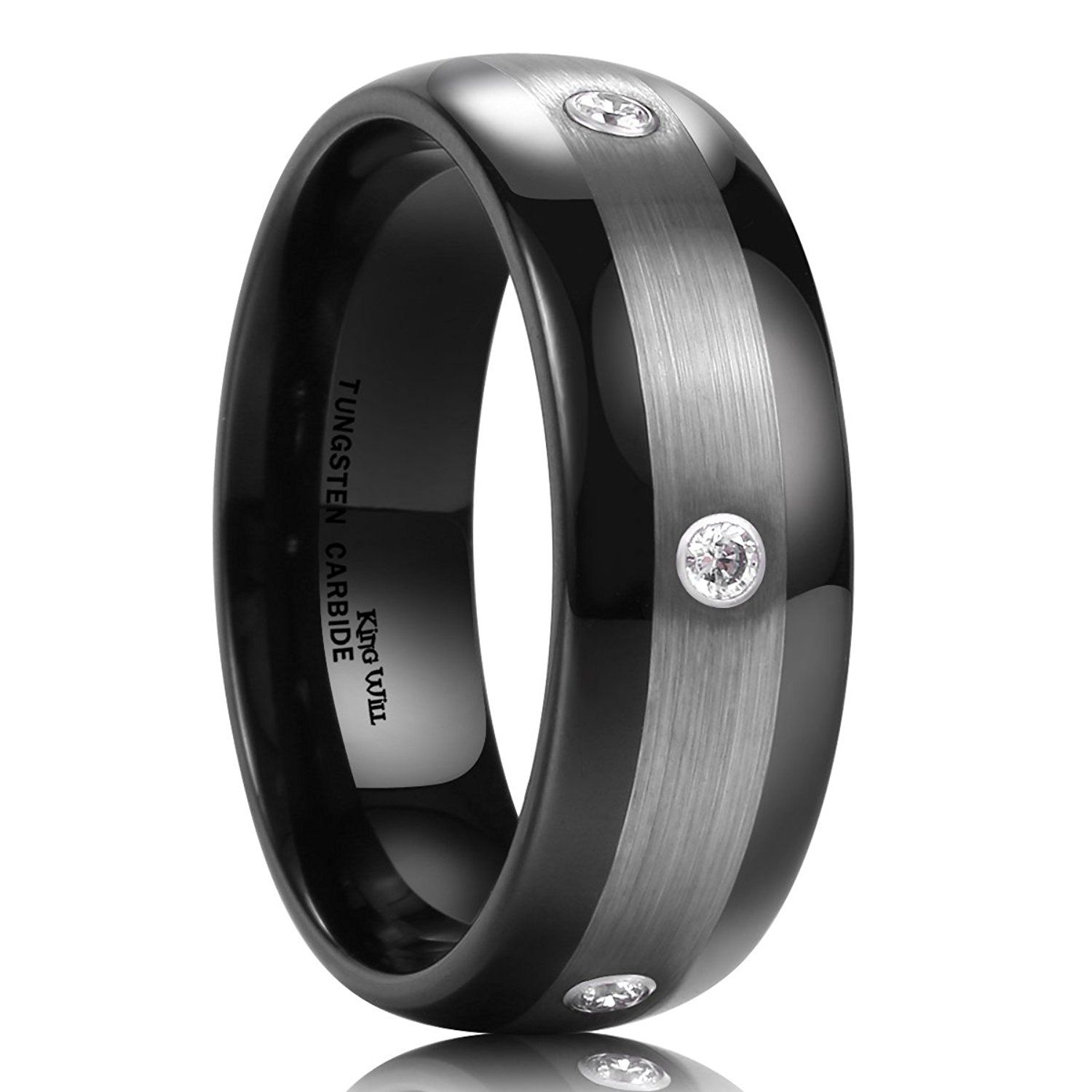 aab6dbc11c8 King Will 8mm Black Tungsten Carbide Ring Matte Finished 3 Cubic Zirconia  Stones Wedding Band