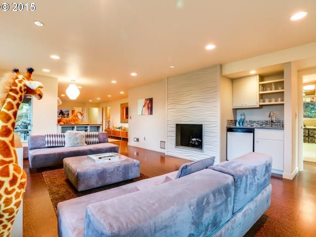 daylight ranch basement family room with wave tile surround cork floors - Cork Living Room 2015