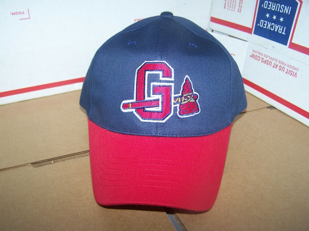 Gwinnett Stripers Formerly Braves Minor League Baseball Hat Cap Velcro Adjustable Blue With Red Bill Logo On Minor League Baseball Baseball Hats Braves