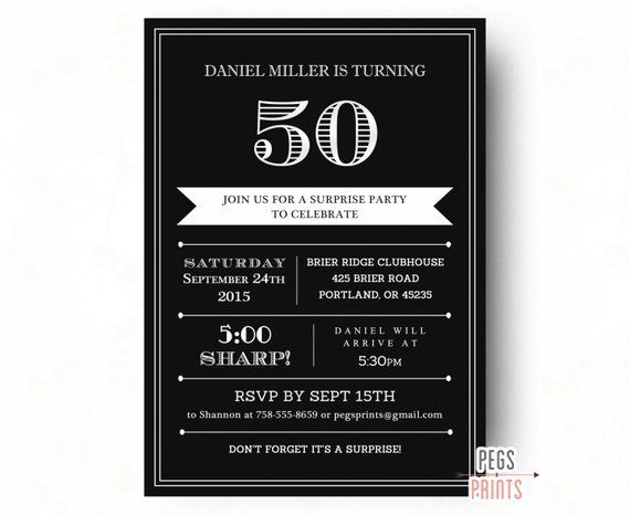 Surprise 50th Birthday Invitation For Men Printable Adult Party Invites