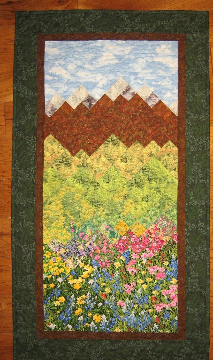 Tahoe Summer Art Quilt Fall Trees, Flowers and Mountains, Fabric ...